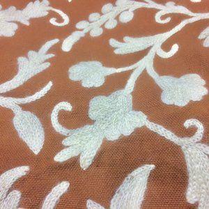 Vtg Crewel Floral Bedspread